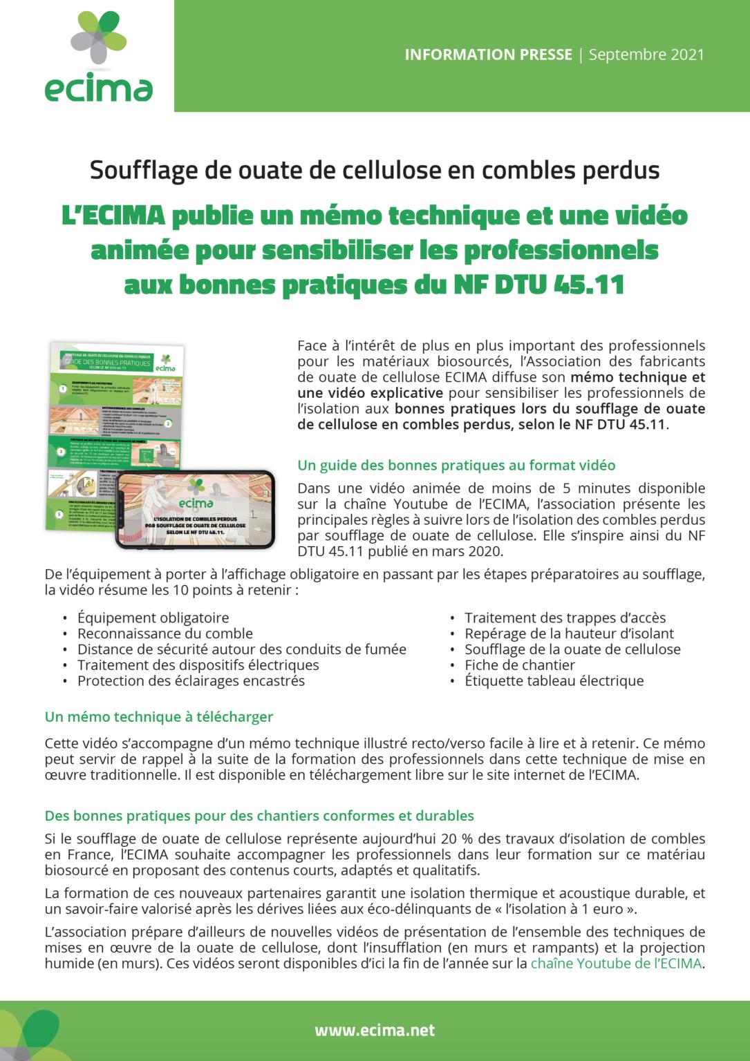 2021-09 CP ECIMA Vidéo et Mémo Technique DTU 45.11
